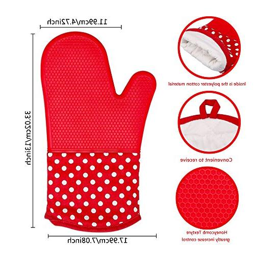Silicone Oven Mitt Grill, Pair Long Large Resistant Potholder Dishwasher Oven, Kitchen Duty Baking Cooking Mitten