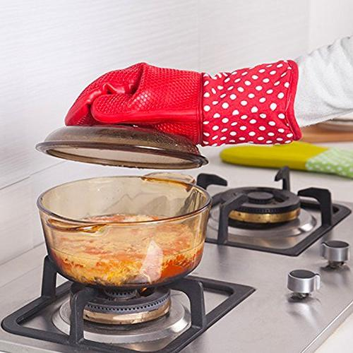 Silicone Mitt Grill, Long Large Resistant Potholder Dishwasher Countertop Oven, Professional Duty Mitten