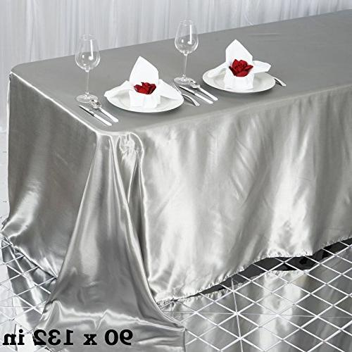 silver rectangle satin tablecloth