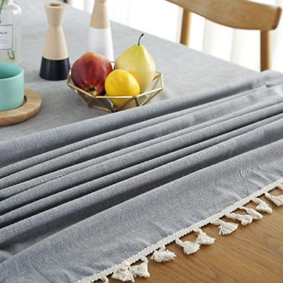 ColorBird Solid Tassel Tablecloth Table