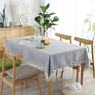ColorBird Solid Tassel Tablecloth Cotton Table