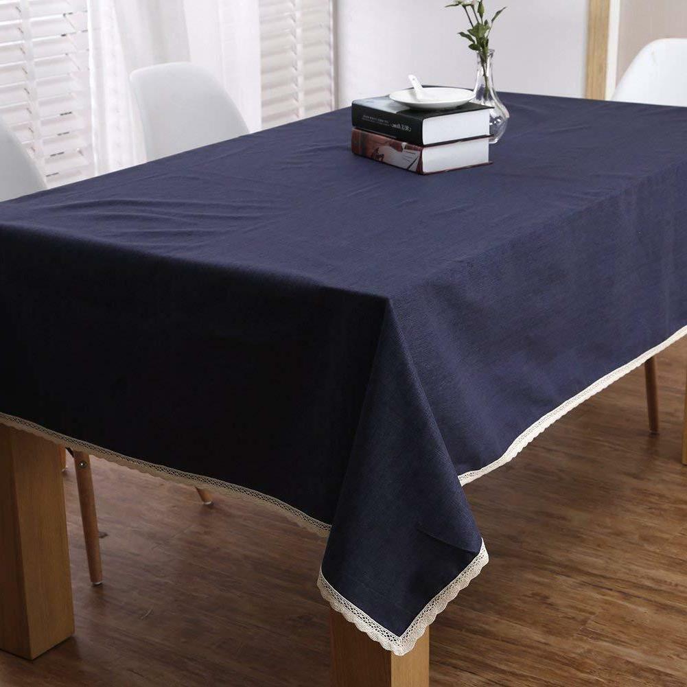 ColorBird Linen Tablecloth Lace Blue X