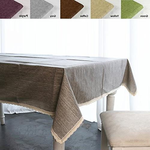 ColorBird Cotton Tablecloth Waterproof Lace Table Cover for Dinning