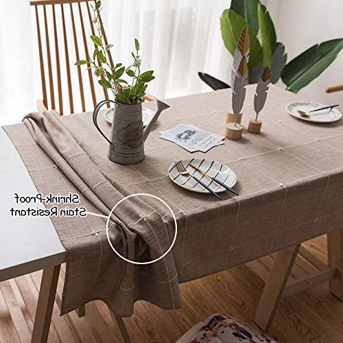 ColorBird Solid Lattice Tablecloth Cotton Table Cover for Dinning