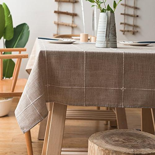 solid embroidery lattice tablecloth cotton