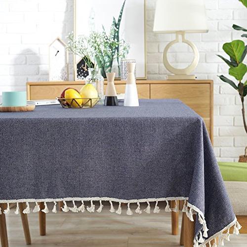 solid tassel tablecloth cotton linen