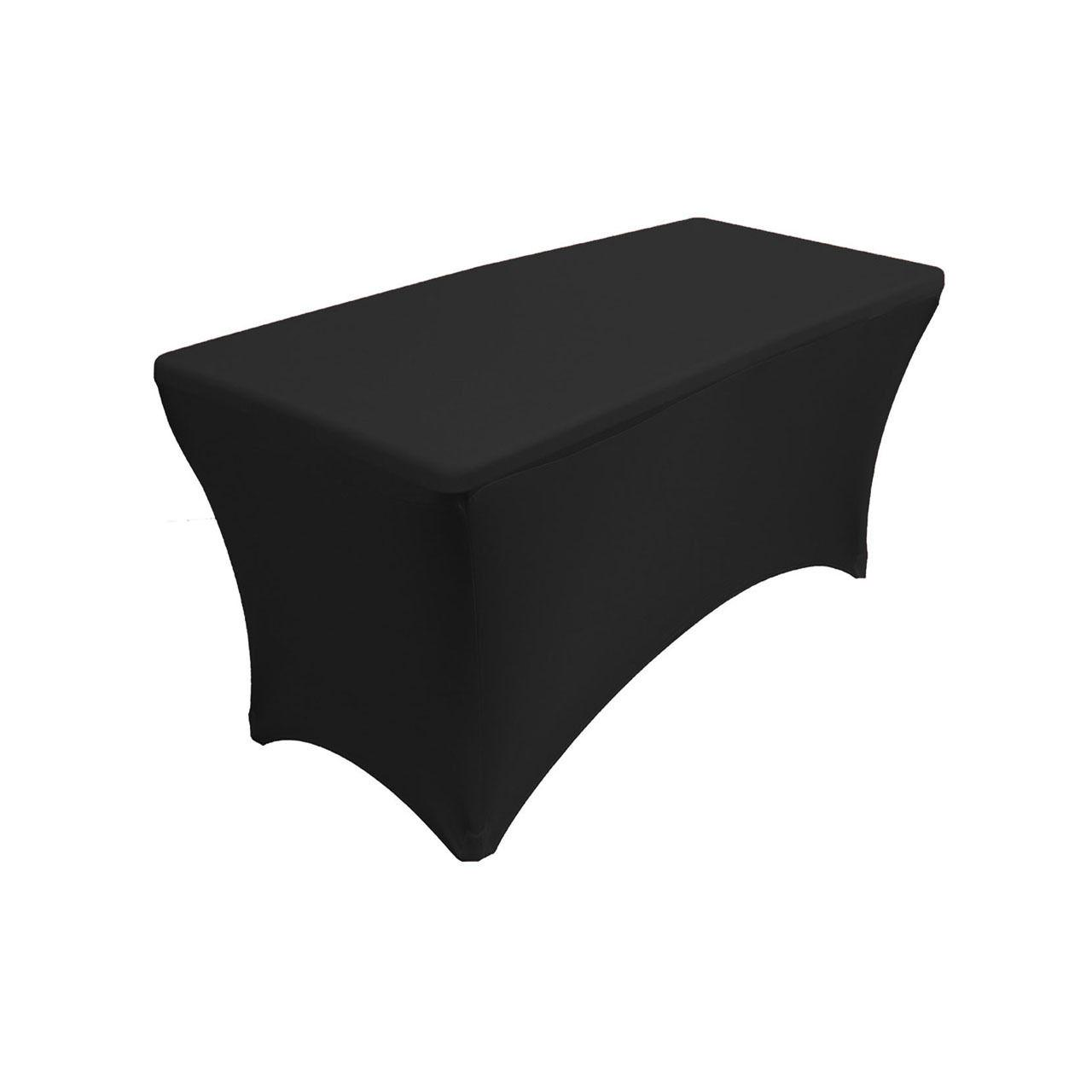 Spandex 4 Ft Rectangular Table Cover Black, Fitted Stretch,S