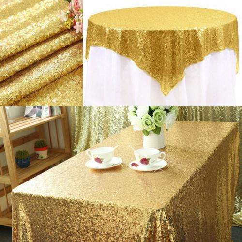 "Sparkly Gold Glitter Sequin Tablecloth Table Cover 40""x59"" W"