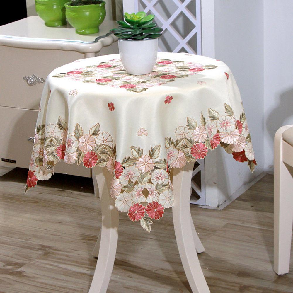 Square Embroidered Floral Table Cover