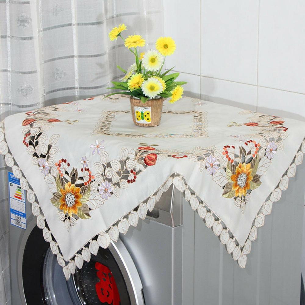 Square Embroidered Floral Cloth Topper