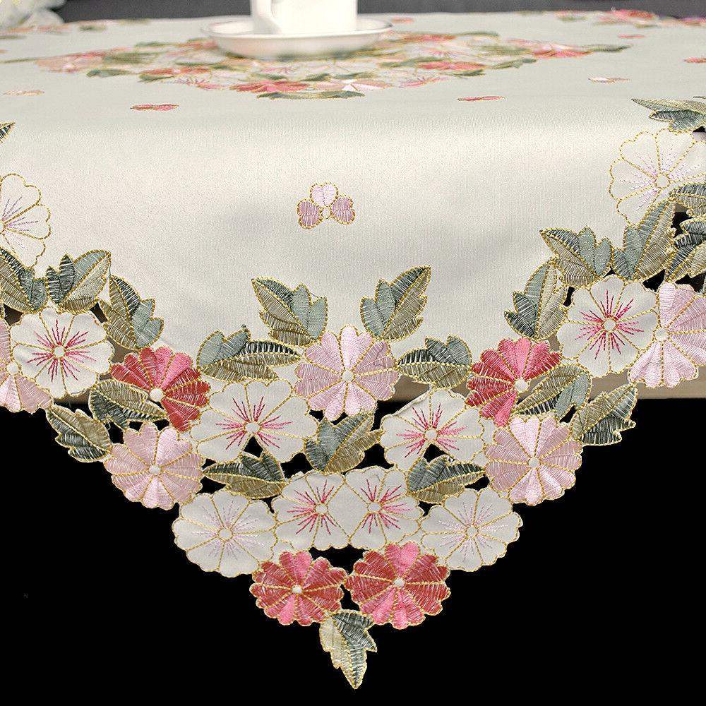 Square Embroidered Floral Table Cover Topper