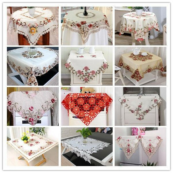 Square Embroidered Lace Tablecloth Floral Table Cloth Cover