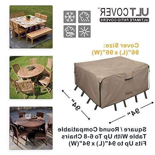 ULTCOVER Patio Duty Table Tough Canvas 100% Waterproof & Dining Table Chair Set 94