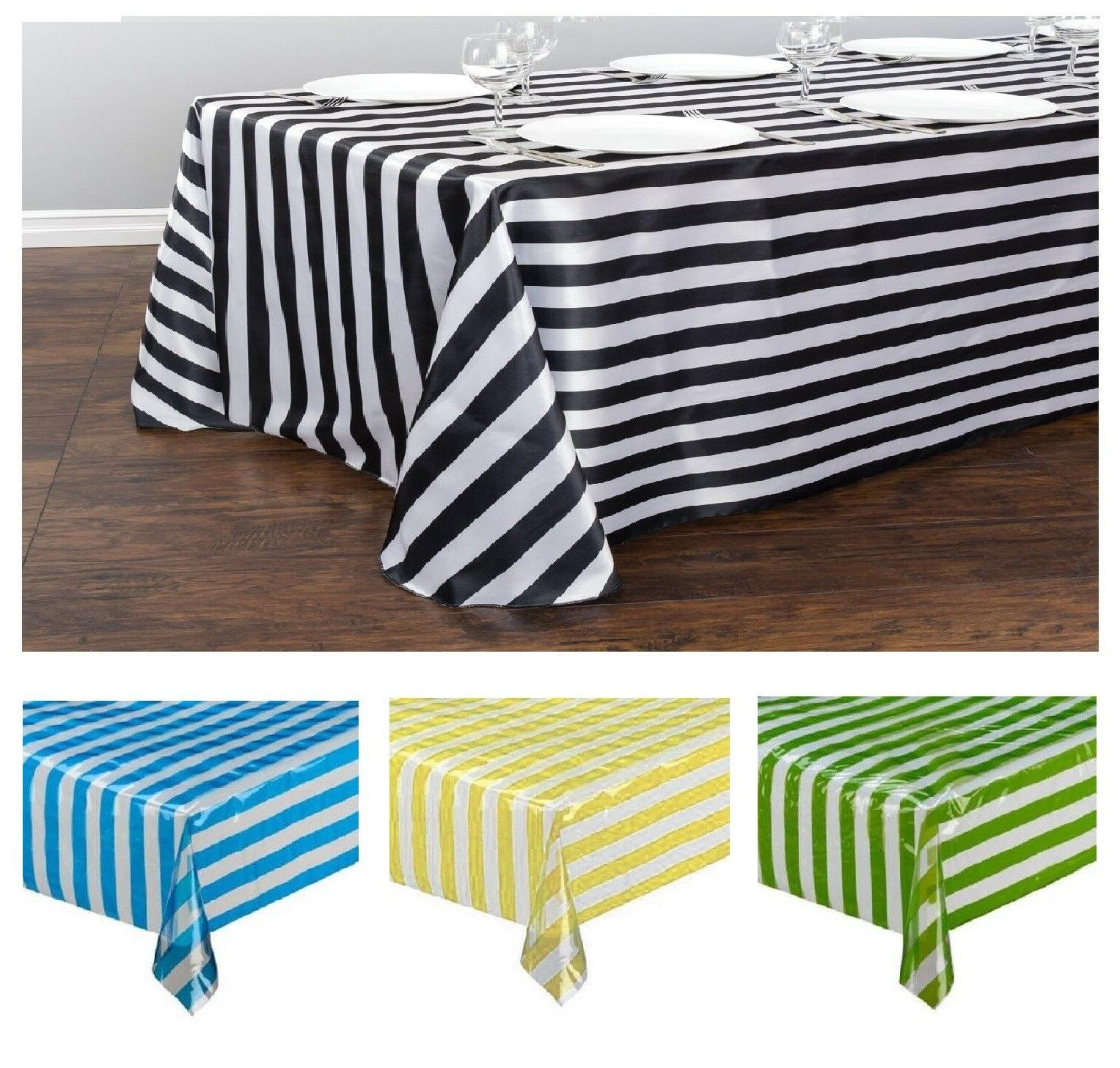 Stripe Pattern Disposable Plastic Tablecloth Table Cover Par