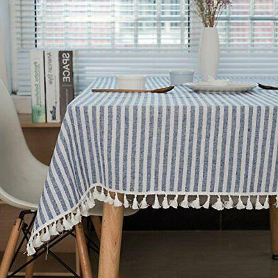 stripe tassel tablecloth cotton linen