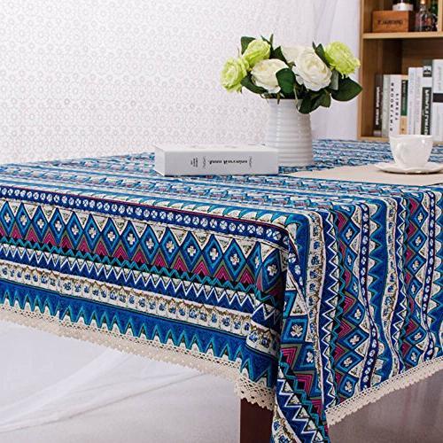 RUIHE Table Bohemian Square Tablecloth Home Blue