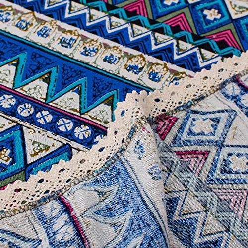RUIHE Table Cloth 100% Cotton Linen Bohemian Style Square Home Decoration Blue