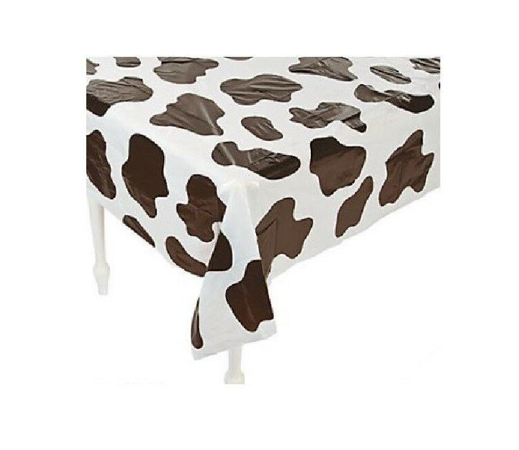 table cover cow print plastic rectangle party