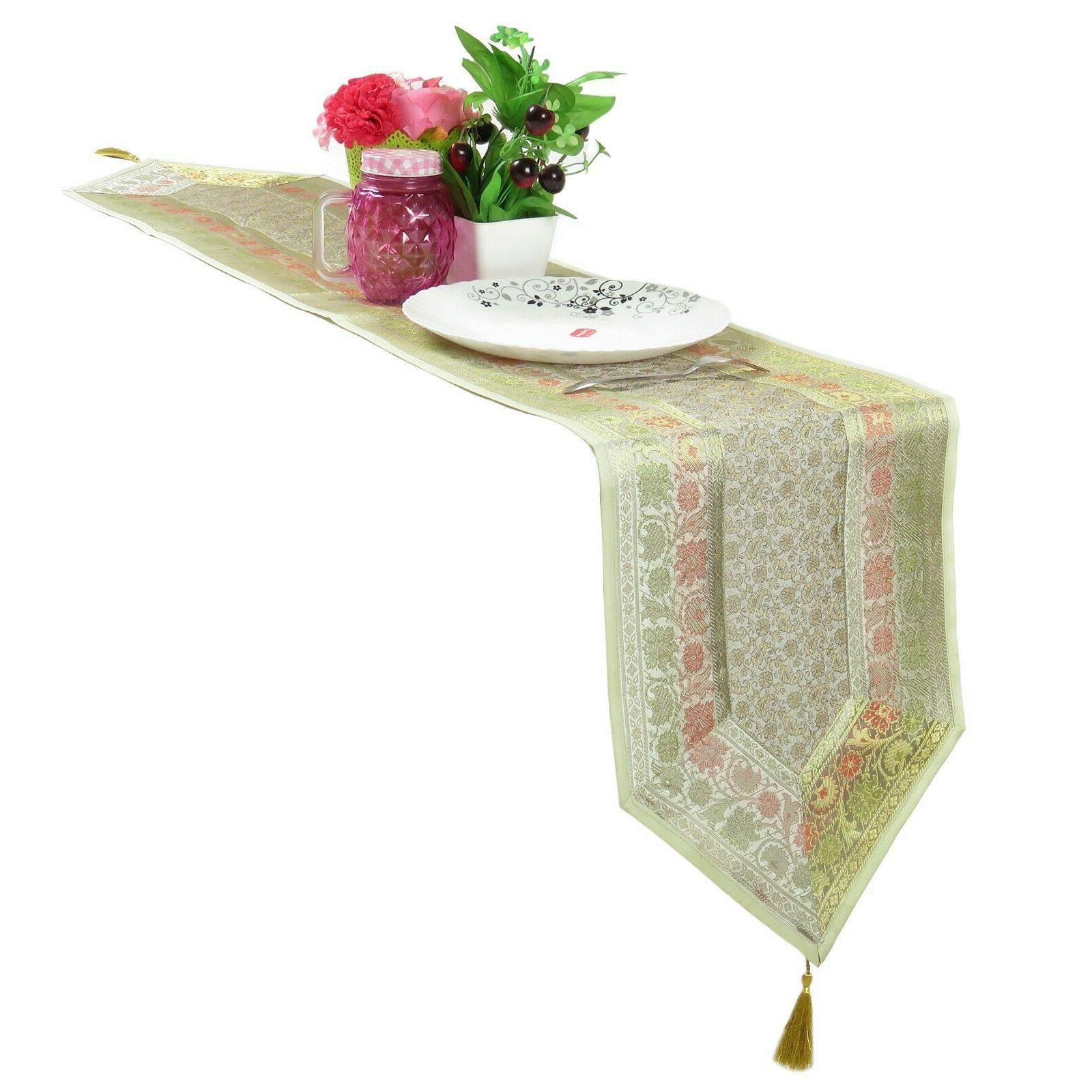 table runner art silk brocade handmade floral