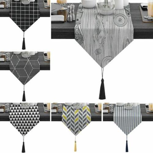 table runner luxury tassels tablecloth cotton linen