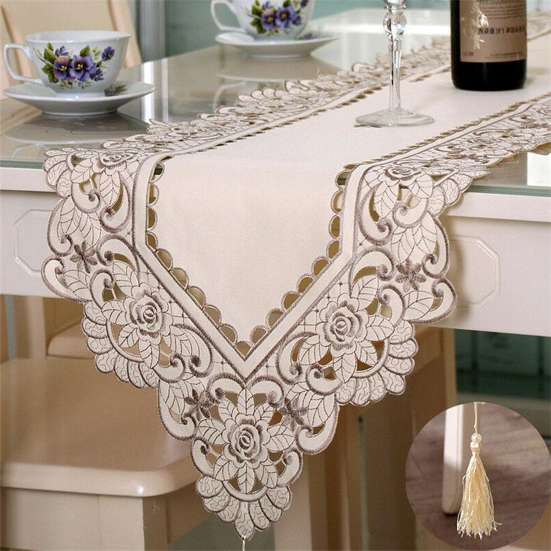 table runner ployester lace embroidered floral table