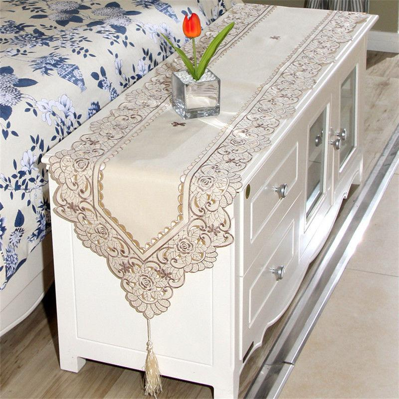 Table Lace Embroidered Floral Cover Runners Home