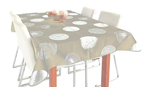 tablecloth beige silver sparkling circle
