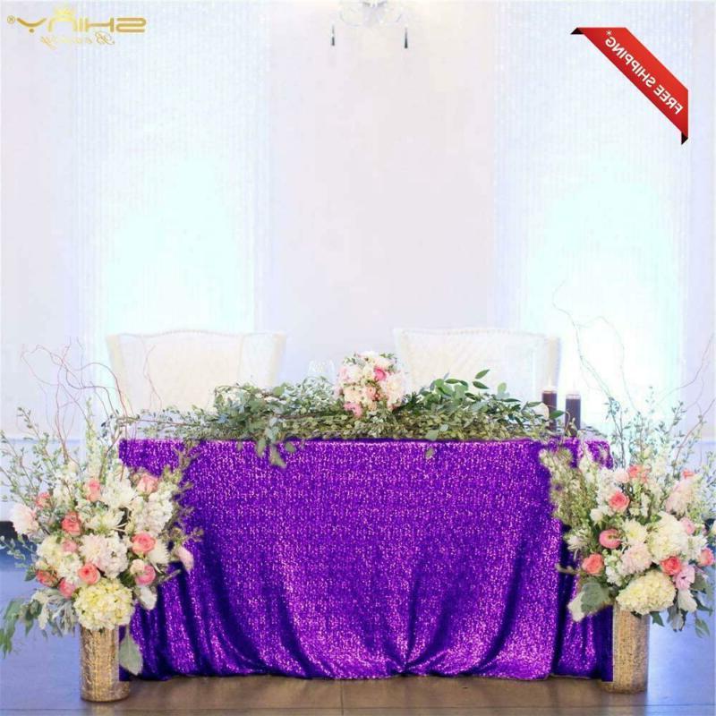 Tablecloth Purple 48''X72'' Rectangle Sequin Table Cloth Seq