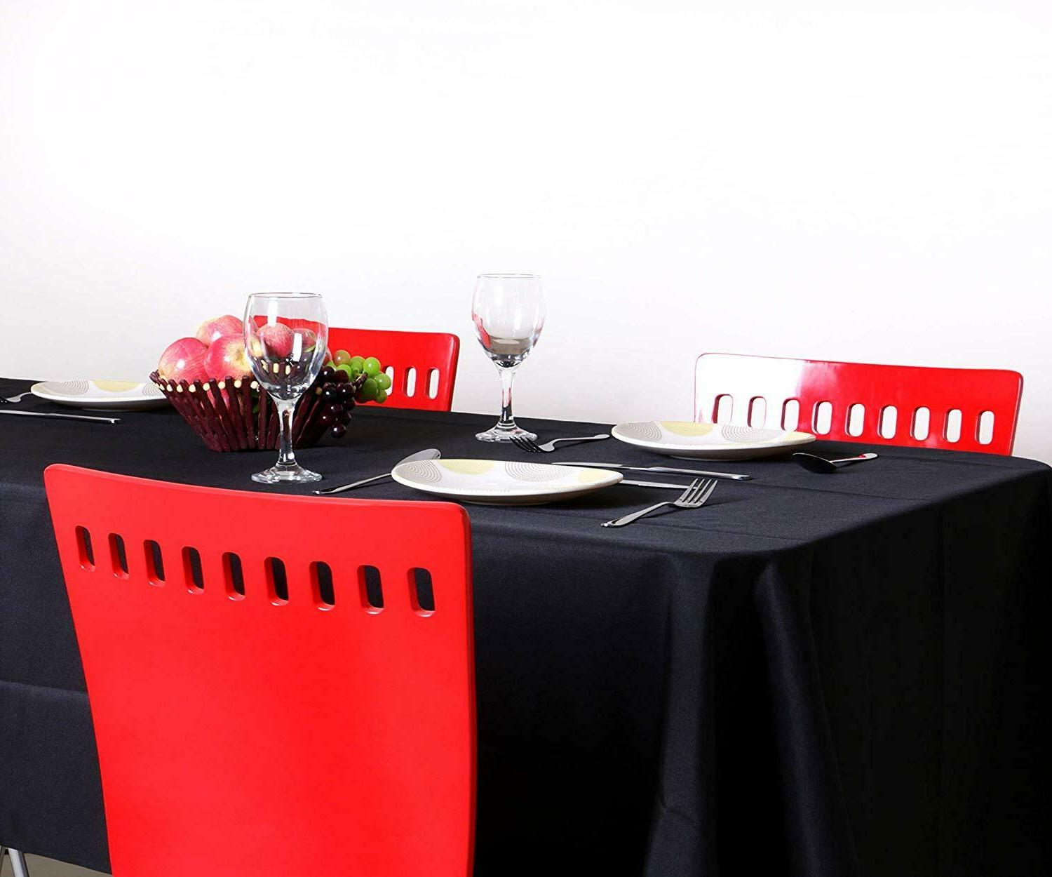 Tablecloth Rectangle Polyester Black Table Utopia Kitchen