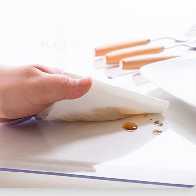 Thick <font><b>2mm</b></font> PVC Transparent Tablecloth <font><b>Table</b></font> Oil-proof Soft Protect kitchen Dinning Quality