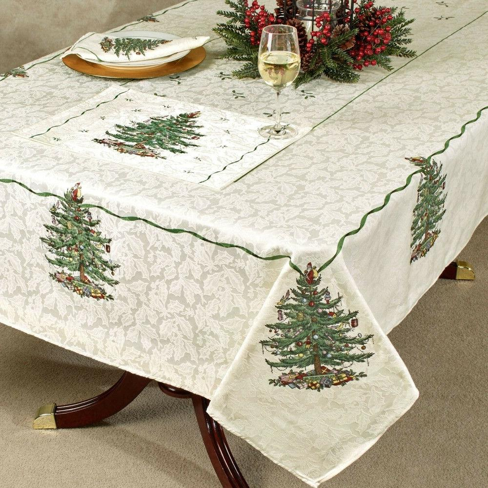 tree printed fabric christmas tablecloths kitchen dining