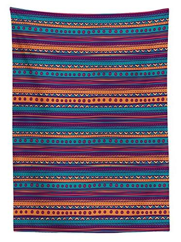 Tribal Tablecloth by Striped Retro with Color Folkloric Print, Dining Room Kitchen Rectangular Cover, W X 84 Teal Plum Orange