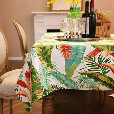 ColorBird Leaves Tablecloth Cotton Table Cover for New