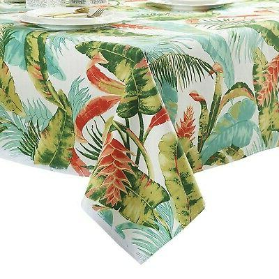 tropical leaves tablecloth cotton dust proof table