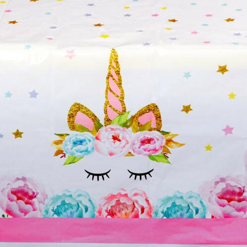 Unicorn Tablecloth Table Cover Kid Baby Decor