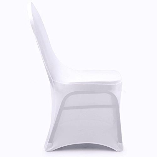 ISWEES Set 10 PCS Color Spandex Chair Covers,Modern Stretchy Slipcover for Wedding Banquet Home Decoration - Flat Front
