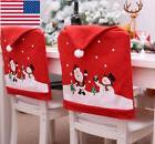 US Christmas Santa Snowman Chair Back Cover Holiday Home Par