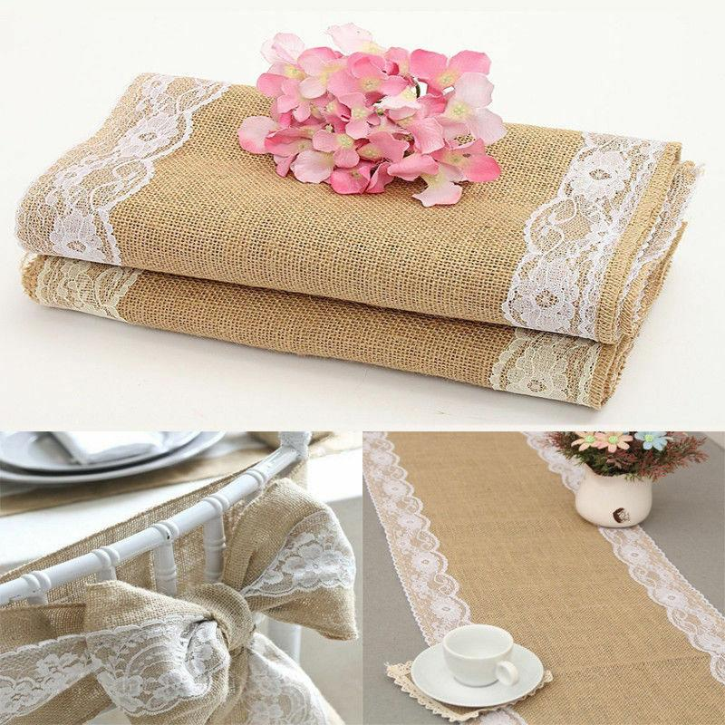 US Linen Lace Floral Cover Runners Home