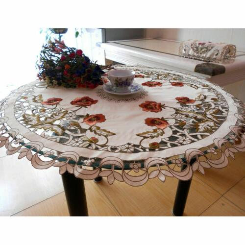 US White Floral Table Cover Dining