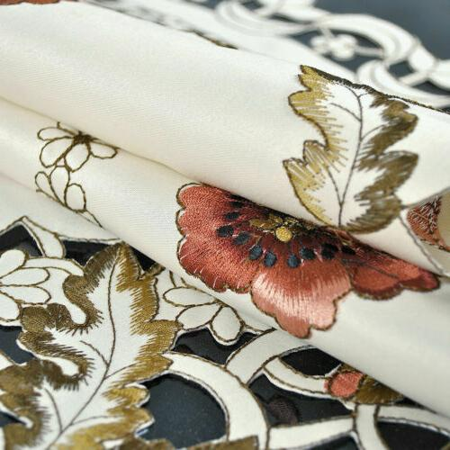 US White Embroidered Floral Table Cover