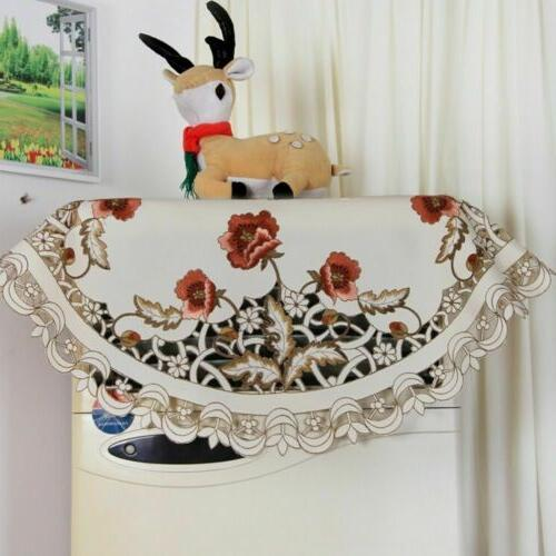US White Embroidered Floral Lace Round Cover Dining