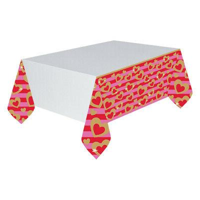 Valentines Day Heart Of Gold Paper Party Tablecover