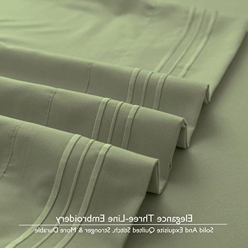 VEEYOO 1800 Thread - Wrinkle, Fade Resistant Extra Hotel Deep Pocket Twin Sheets Set,