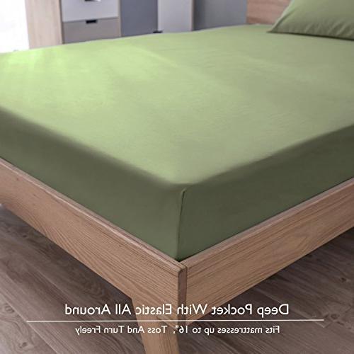 VEEYOO 1800 Count Microfiber Sheet - Resistant Hypoallergenic Bedding - Hotel Twin Pieces,
