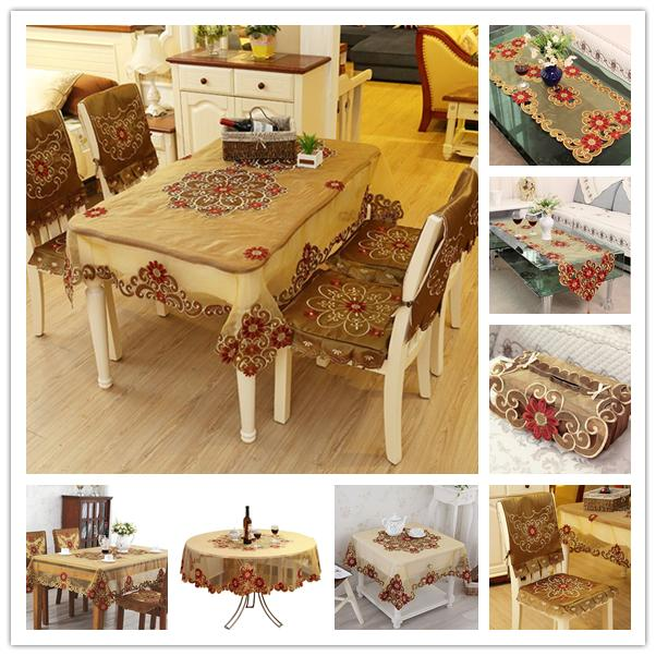 Vintage Brown Embroidered Lace Tablecloth Fabric Table Cloth