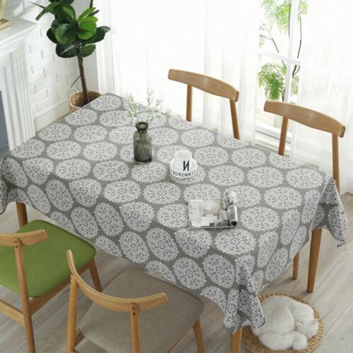 Retro Cotton Linen Rectangle Table Cloth Cover Home Dining K