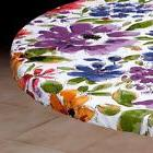 Vinyl Fitted Table Cover WHITE FLORAL Square SM MED LG Round