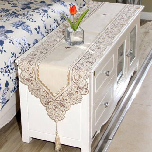 Waterproof Openwork Embroidery Pastoral Tablecloth Coffee Cover L