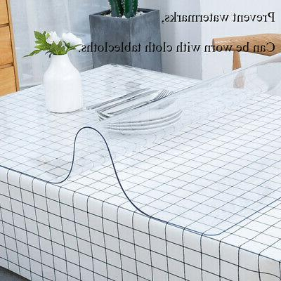 PVC Clear Table Cover Waterproof Tablecloth Transparent Home