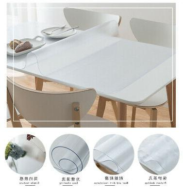 Waterproof Soft Glass Transparent Table Cover Home Kitchen B